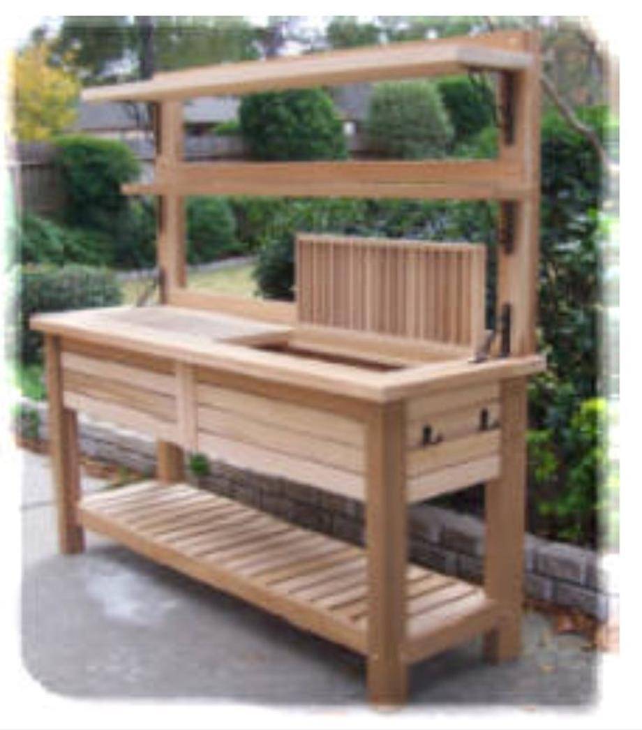 Garden Potting Bench: Outdoor Garden Potting Bench Design Ideas 24
